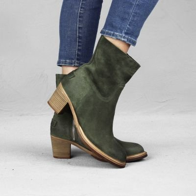 Ankle-boot-suede-Dark-Olive