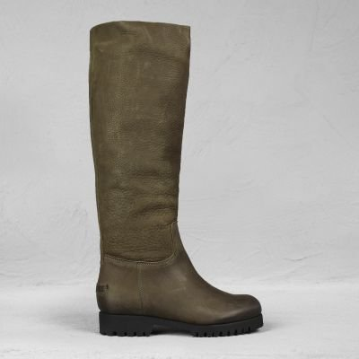 Boot-waxed-grain-leather-Olive-Brown