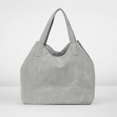 Handbag-suede-Grey